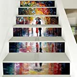 6PCS Various Background Pattern DIY Stair Sticker Cozy Pattern Removable Home Decor for Ceramic Tiles (D)