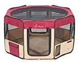 "Pawer 45""×24"" 8-Panel Foldable Pet Playpen, for Small Medium Large Cat/Dog/Puppy, Big Size, Burgundy+Beige, 600D Oxford Cloth Portable Indoor & Outdoor Kennel with Carry Bag Review"