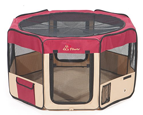 """Pawer 45""""×24"""" 8-Panel Foldable Pet Playpen, for Small Medium Large Cat/Dog/Puppy, Big Size, Burgundy+Beige, 600D Oxford Cloth Portable Indoor & Outdoor Kennel with Carry Bag Review"""