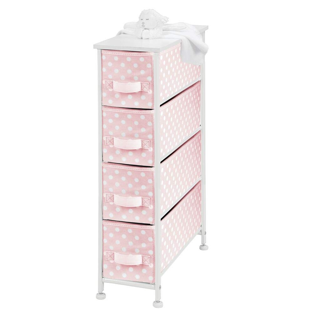 mDesign Narrow Vertical Dresser Drawers - Sturdy Steel Frame, Wood Top, 4 Easy Pull Fabric Bins - Organizer Unit for Child/Kids Room or Nursery - Polka Dot Pattern - Pink with White Dots
