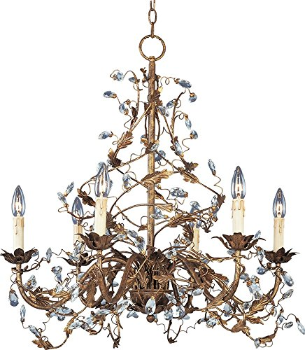 - Maxim 2851EG Elegante 6-Light Chandelier, Etruscan Gold Finish, Glass, CA Incandescent Incandescent Bulb, 60W Max, Wet Safety Rating, Standard Dimmable, Glass Shade Material, 672 Rated Lumens