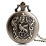 Watch Ravenclaw Theme Designer Pocket Watch Classic Quartz Pocket Watch with Necklace Chain for Men Boy Girl Kids Xmas Gift