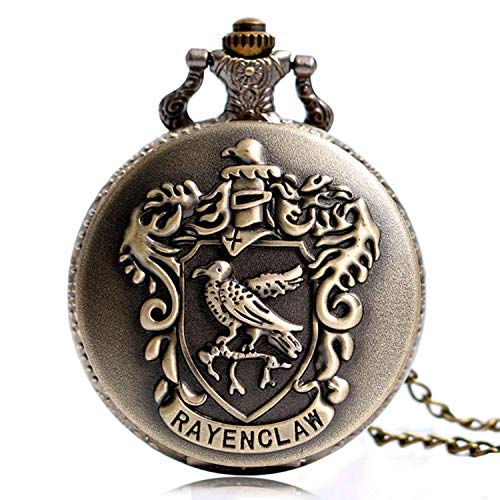 Harry Potter Watch Ravenclaw Theme Designer Pocket Watch Classic Quartz Pocket Watch with Necklace Chain for Men Boy Girl Kids (Designer Pocket Watch)