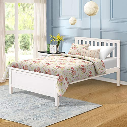 Harper&Bright Designs Wood Platform Bed with Headboard, Footboard, Wood Slat Support, No Box Spring Needed(Twin, White) 513nUHQIC1L