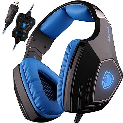 SADES A60 7.1 USB Surround-Sound-Stereo Profi PC Gaming Headset Over-Ear-Kopfhörer mit Bügel mit hoher Empfindlichkeit Mic Vibrationsfunktion Lautstärkeregelung Fernbedienung Wolf Logo LED-Blinklichter (schwarz)