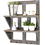 Rusoji Country Style Whitewashed Wood Wall Mounted Hanging Shelves Storage Rack with Metal Hooks, Gray