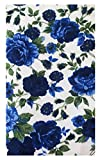 5''x 8.5'' Office Guest Registry Books Blue Roses Fabric Guest Check Presenter, Check Holder for Restaurant, Check Book Cover, Waitstaff Organizer, Restaurant Server Book (With Plastic Cover)