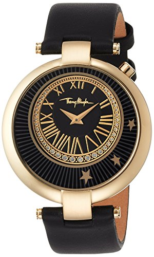 Price comparison product image Thierry Mugler Women's Black Genuine Leather Black dial