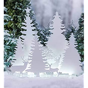 Christmas Trees Silhouette.Amazon Com Wind Weather Led Lighted Metal Deer And Trees