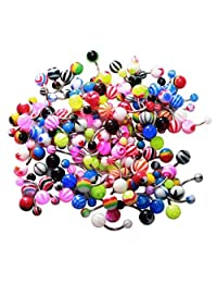 Belly Ring Assorted Lot of 25 Belly Button Rings Assorted Belly Botton Rings Steel 14 Gauge