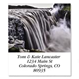 "Dettifoss Waterfall Square Return Address Labels - Set of 144 1-1/8"" x 2-1/4"" Self-Adhesive, Flat-Sheet labels"