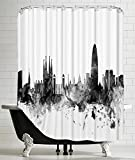 American Flat Barcelona Spain Skyline New 1'' Art Pause Shower Curtain by Michael Tompsett, 71'' x 74''