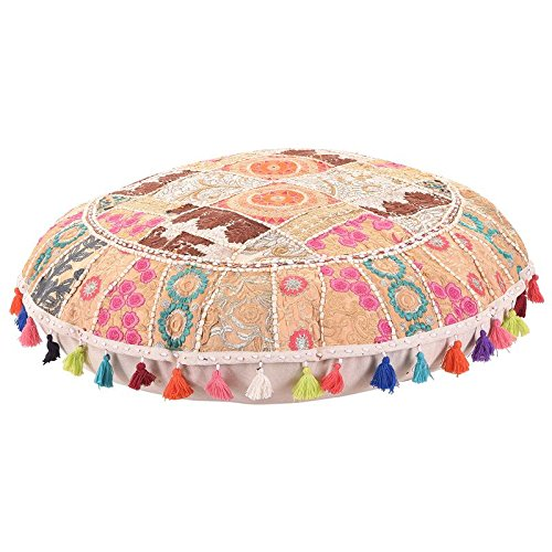 Embroidered Chair Cover,Decorative Throw Vintage Pouf Cover Indian Throw Cotton Foot stool 32'' MyCrafts FPB00006