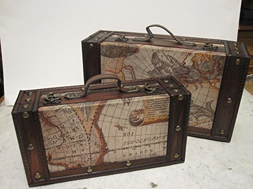 Set of 2 Old World Map Wooden Suitcase Trunk Box