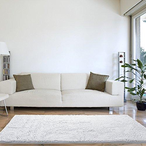 Lavish Home High Pile Shag Rug Carpet - White - 30x60