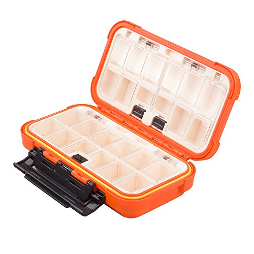 Double-Sided Fishing Tackle Boxes Fishing Lure Plastic Boxes Hook Baits Box Large Capacity Bait Storage Fishing Tackle Boxes with Many Separated Case Organizer (6.53.32 Inch) (Orange)