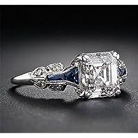 Vintage 2.45ct White Topaz Ring 925 Silver Wedding Engagement Ring Size 6-10 (8)