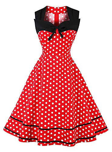 Vintage Sleeveless Swing Dress Womens 1950s Audrey Hepburn Polka Dots a Line D116 (red, -