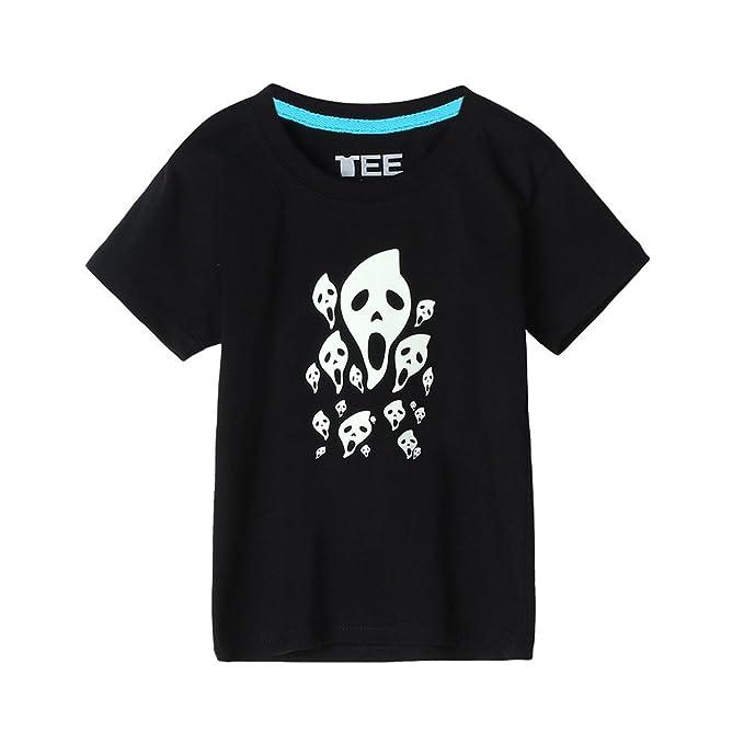Lonshell Camiseta camiseta fluorescentes de mangas cortas con estampado de cráneos de camiseta para padre y niño de moda cuello redondo Algodón: Amazon.es: ...