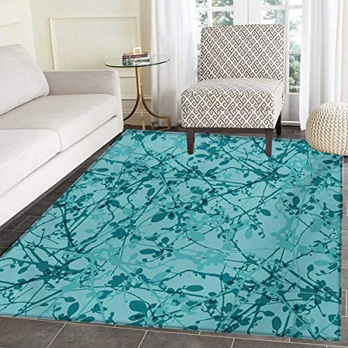 """Teal Door Mats Area Rug Ink Drawing Inspired Intertwined Tree Branches Buds Leaves in Abstract Design Floor mat Bath Mat tub 36""""x60"""" Teal Turquoise -  Anhounine"""