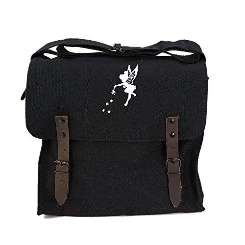 (Tinker Bell Fairy Peter Pan Army Heavyweight Canvas Medic Shoulder Bag in Black & White)