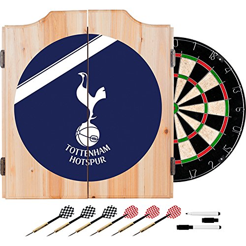 Premier League Tottenham Hotspurs Football (Soccer) Club Design Deluxe Solid Wood Cabinet Complete Dart Set by TMG