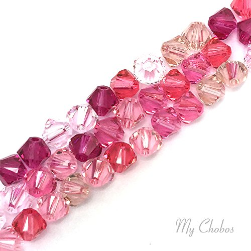 50 pcs Swarovski 5328 / 5301 6mm Crystal Xilion Bicone Beads PINK Colors Mix from Mychobos ()