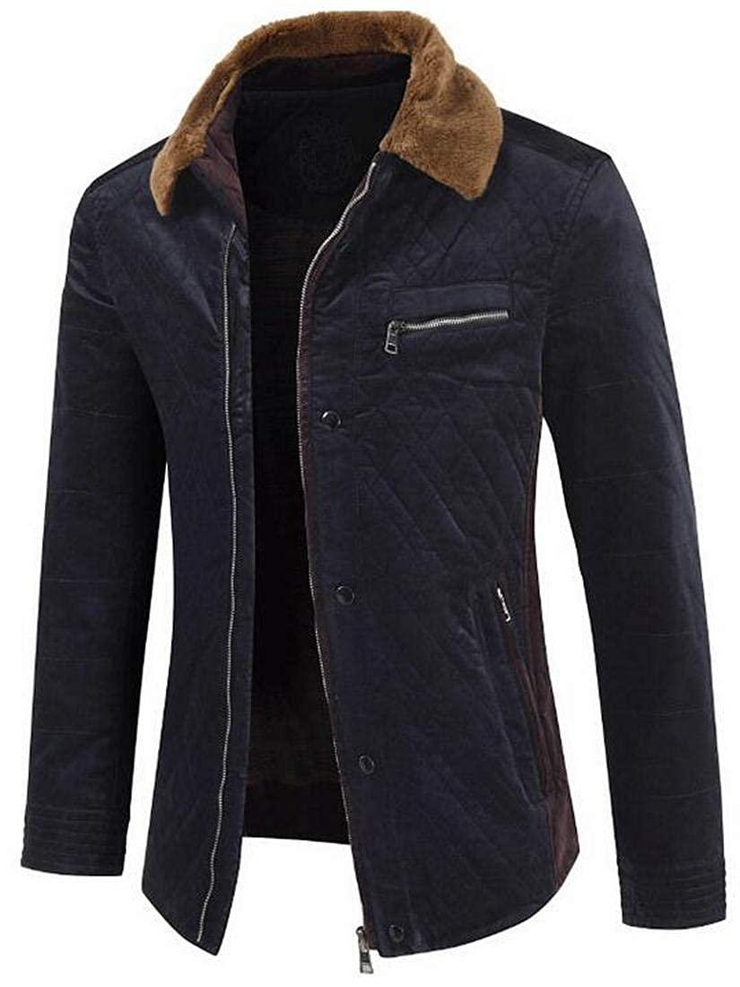 Fubotevic Mens Fall Winter Warm Faux Fur LAPE Thicken Full-Zip Quilted Jacket Coat Outerwear