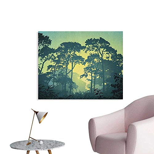Anzhutwelve Nature Wall Paper Mist Forest Scenery with Tree Tops at Sunset Hazy Woodland Rural Landscape Art Poster Hunter and Green W36 xL32