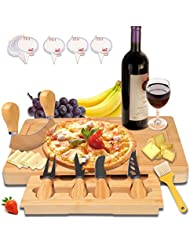 Bamboo Cheese Board with Slide-Out Drawer Wood Charcuterie Platter Serving Cutlery Set Cheese tray Chopping board