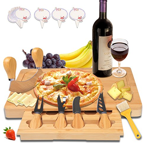 Bamboo Cheese Board Charcuterie Platter - with Slide-Out Drawer Wood Serving Cutlery Set Cheese Tray Chopping Board