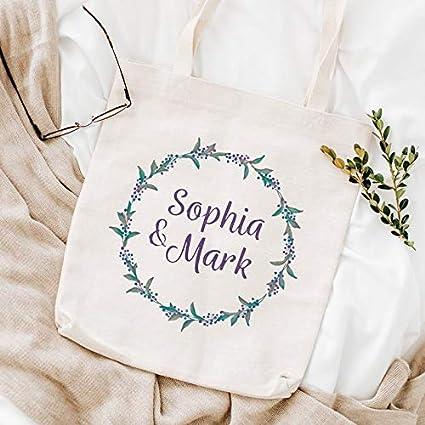 Bolsa de diseño floral con nombres de pareja, regalo para mujeres, bolsa de regalo de boda, acuarela, corona floral, bolsa de regalo, bolso romántico