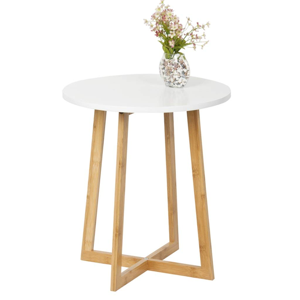 WDOPZMS Modern Minimalist Solid Wood Legs Sofa Side Table Small Space Anti-Collision Stable Bracket Round Table Living Room Bedroom Balcony End Table Easy to Assemble by WDOPZMS