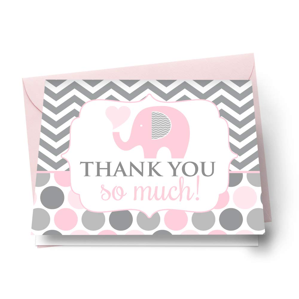 Pink Elephant Thank You Cards and Envelopes Pack of 20 Girls Baby Shower Stationery