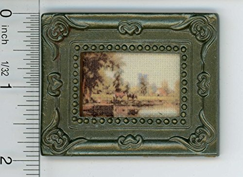Dollhouse Miniature Dark Framed Picture of a Shoreline