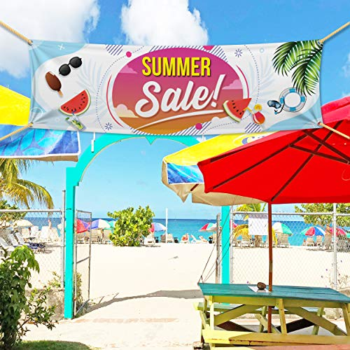 (Summer Sale Banners are Great for Business Models, Building Wraps, Banners, Trade Show Signage - Banner Sign Store -13 Oz Scrim Vinyl Summer Sale Banner with Metal Grommets)