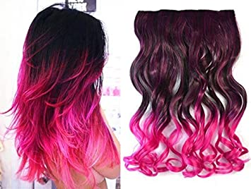 Dark Brown To Hot Pink Two Colors Ombre Hair Extensions Synthetic