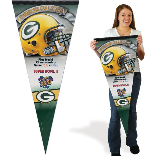 Green Bay Packers Felt Pennant - Wincraft Green Bay Packers 17x40 Super Bowl Champions Premium Pennant