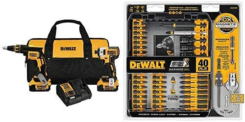 DEWALT DCK267M2 20V MAX XR Drywall Screwgun Impact Driver Kit with DEWALT DWA2T40IR IMPACT READY FlexTorq Screw Driving Set, 40-Piece