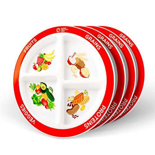 Section Four (MyPlate Divided Kids Portion Plate, 4 Pack, four Fun & Balanced Sections for Picky Eaters)