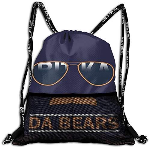 Men & Women Drawstring Backpack Theft Proof Lightweight Beam Bag, School Rucksack - Da Bears Chicago Windy City Mustache Glasses Waterproof Backpack Soccer Basketball Bag