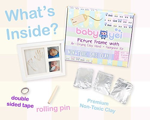 Baby Handprint Picture Frame Clay Kit for Newborn Girls and Boys by Baby Yei - The Photo Frames are Fully Painted White-Prevents Mold Creation-Safe for Treasuring your Angel's First Precious Memories by Baby Yei (Image #2)