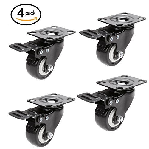 Heavy Duty Dual Wheel Caster (Swivel Caster Wheels with Brake, 2'' Heavy Duty Rubber Base with 360 Degree Top Plate & Bearing Pack of 4)