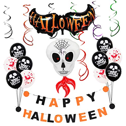 SM SunniMix Halloween Balloons Suit- Bunting Garland Ghost Bat & Latex Balloons Hanging Swirl Decoration Party Birthday