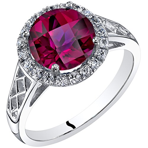Peora 14K White Gold Created Ruby Galleria Ring 2.50 Carats Sizes 5-9