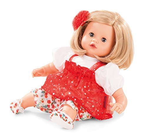 "Gotz Muffin 13"" Soft Baby Doll with Blonde Hair and Blue Sleeping Eyes in Red Dress"