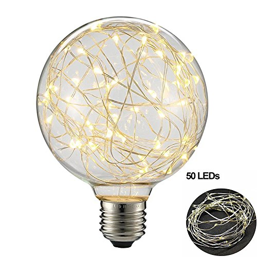G95 LED Globe Bulb Vintage Edison,Lee Lighting 3 Watt E27 Base 300LM Antique Filament Globe Spiral Design LED Lights for Christmas Home Party Wedding Bars Decoration - Warm White