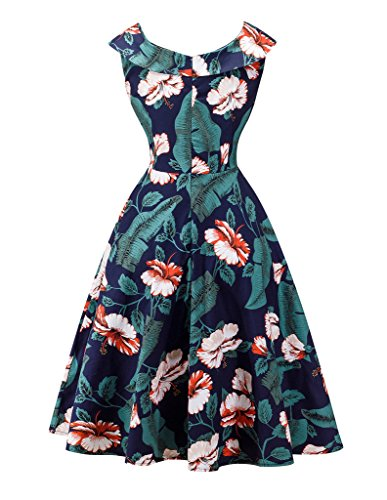 YoungSoul Vestidos de fiesta vintage años 50 para mujer sin mangas retro pinup rockabilly vestido de noche con estampado de flores: Amazon.es: Ropa y ...