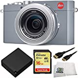 Leica D-LUX (Typ 109) Digital Camera (Solid Gray) 4PC Accessory Bundle. Includes Sandisk 16GB Extreme SDHC Memory Card + Replacement DMW-BLG10 Battery + Mini HDMI Cable + Microfiber Cleaning Cloth