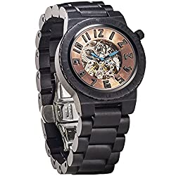 JORD Wooden Watches for Men - Dover Series Skeleton Automatic / Wood Watch Band / Wood Bezel / Self Winding Movement - Includes Wood Watch Box (Ebony & Copper)